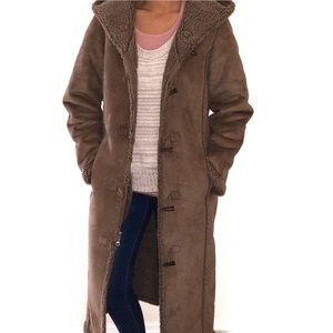 L. L. Bean Faux Suede Sherpa Shearling Toggle Coat